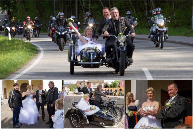 Biker-Hochzeit bei Bilderbuchwetter