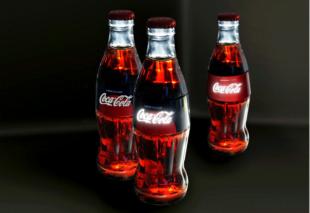 Leuchtende Etiketten für Coca-Cola