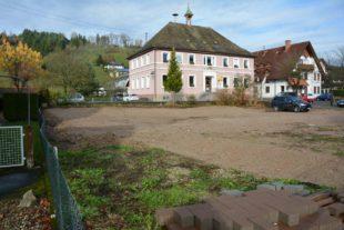 Vorbereitende Baumaßnahmen beim Rathaus Unterharmersbach