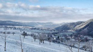 Weiße Winterlandschaft unter strahlend blauem Himmel