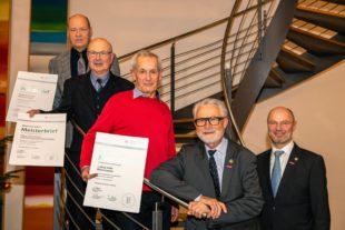 Ehrenmeisterbriefe für Walter Glaser, Ludwig Welle, Werner Eckermann und Albert Holzenthaler