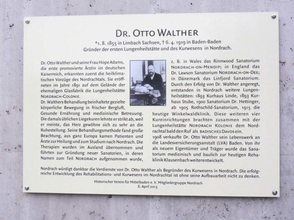 Historischer Verein Nordrach: 100. Todestag von Dr. Otto Walther