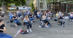 Erste Gesamtprobe der Musikkapelle Unterharmersbach nach Lockdown