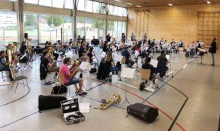 Erste Gesamtprobe des Biberacher Musikvereins nach der Zwangspause