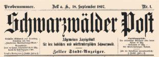 123 Jahre Schwarzwälder Post
